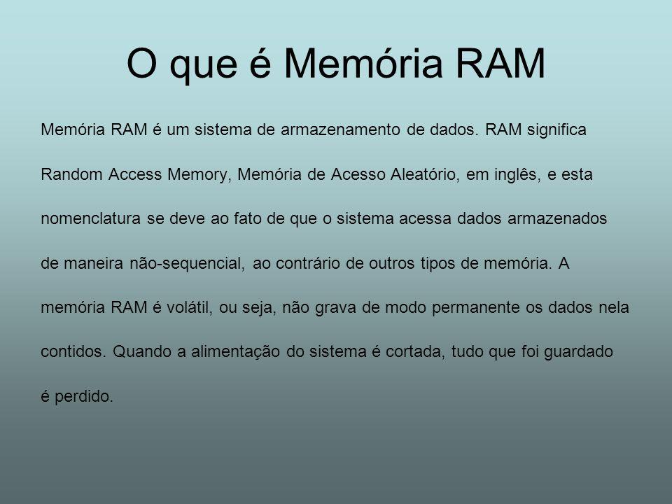 O que é Memória RAM Memória RAM é um sistema de armazenamento de dados. RAM significa Random Access Memory, Memória de Acesso Aleatório, em inglês, e