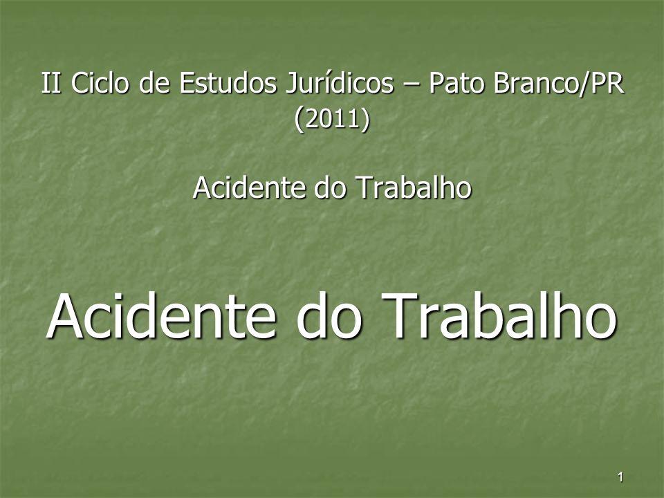 1 II Ciclo de Estudos Jurídicos – Pato Branco/PR ( 2011) Acidente do Trabalho Acidente do Trabalho