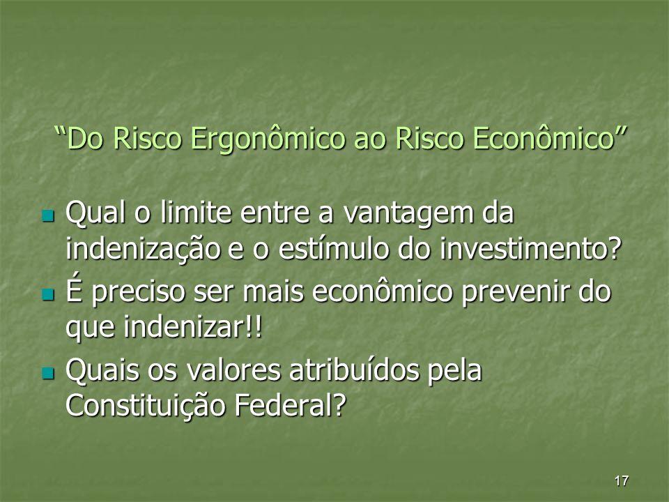 17 Do Risco Ergonômico ao Risco Econômico Qual o limite entre a vantagem da indenização e o estímulo do investimento? Qual o limite entre a vantagem d