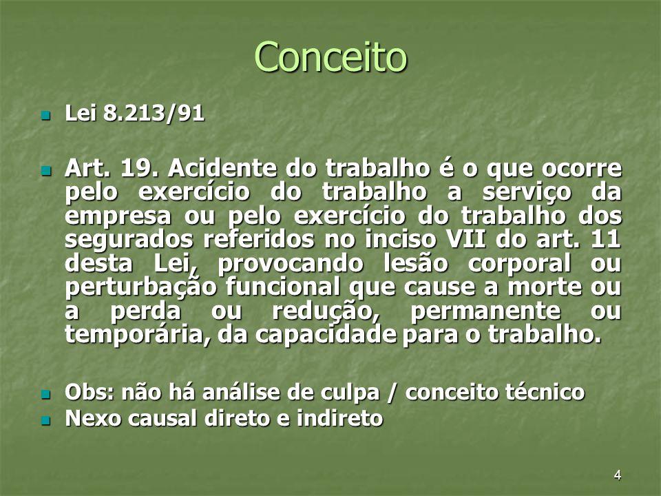 4 Conceito Lei 8.213/91 Lei 8.213/91 Art. 19. Acidente do trabalho é o que ocorre pelo exercício do trabalho a serviço da empresa ou pelo exercício do