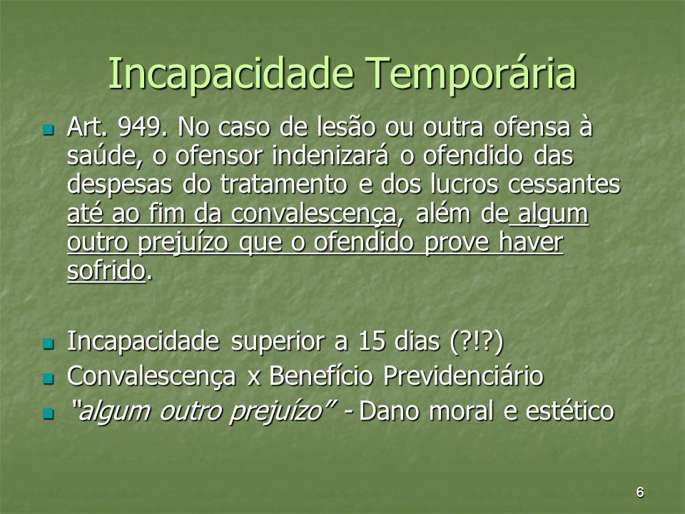 6 Incapacidade Temporária Art. 949. No caso de lesão ou outra ofensa à saúde, o ofensor indenizará o ofendido das despesas do tratamento e dos lucros