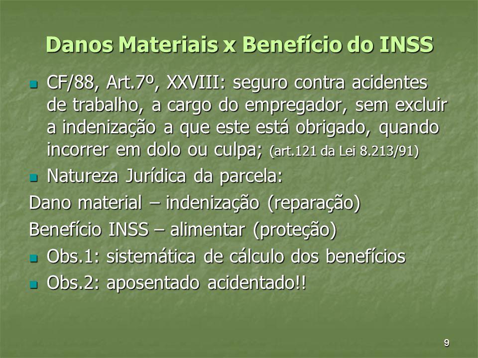 9 Danos Materiais x Benefício do INSS CF/88, Art.7º, XXVIII: seguro contra acidentes de trabalho, a cargo do empregador, sem excluir a indenização a q