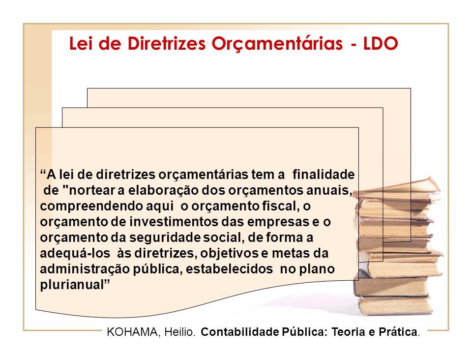 Lei de Diretrizes Orçamentárias - LDO A lei de diretrizes orçamentárias tem a finalidade de nortear a elaboração dos orçamentos anuais, compreendendo aqui o orçamento fiscal, o orçamento de investimentos das empresas e o orçamento da seguridade social, de forma a adequá-los às diretrizes, objetivos e metas da administração pública, estabelecidos no plano plurianual KOHAMA, Heilio.