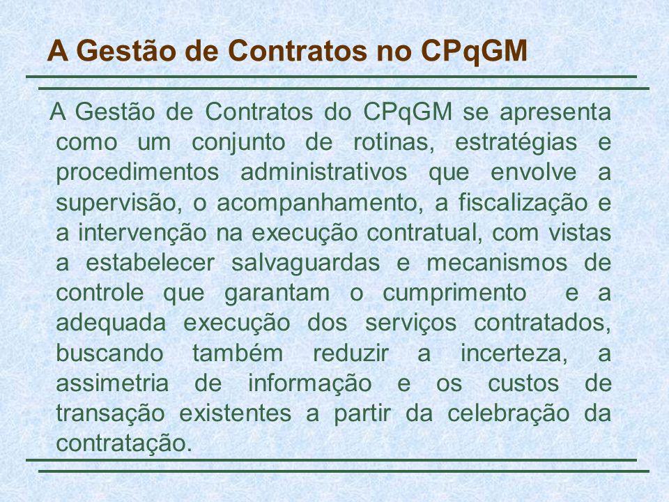 A Gestão de Contratos no CPqGM A Gestão de Contratos do CPqGM se apresenta como um conjunto de rotinas, estratégias e procedimentos administrativos qu