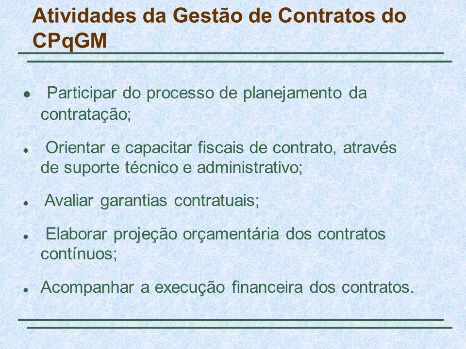 Atividades da Gestão de Contratos do CPqGM Participar do processo de planejamento da contratação; Orientar e capacitar fiscais de contrato, através de