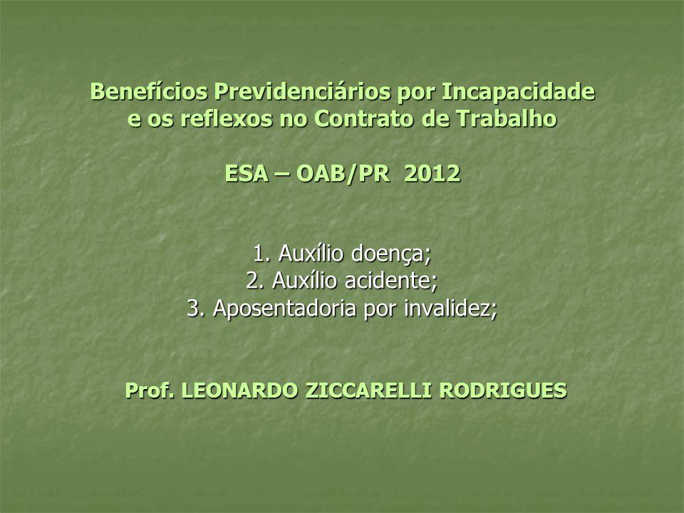 Benefícios Previdenciários por Incapacidade e os reflexos no Contrato de Trabalho ESA – OAB/PR 2012 1. Auxílio doença; 2. Auxílio acidente; 3. Aposent