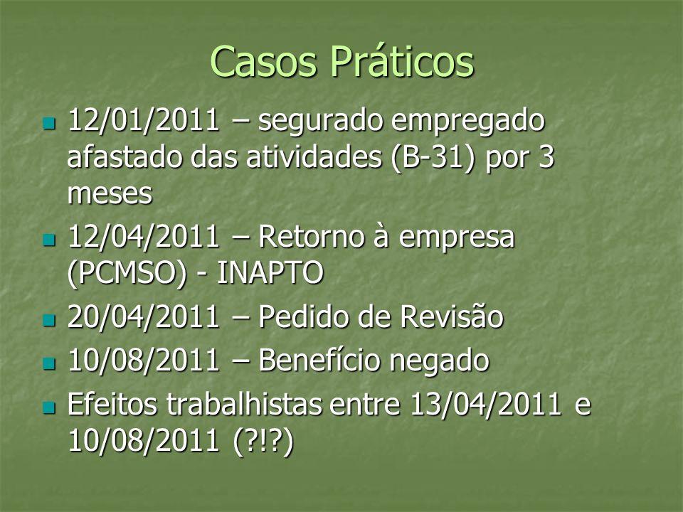 Casos Práticos 12/01/2011 – segurado empregado afastado das atividades (B-31) por 3 meses 12/01/2011 – segurado empregado afastado das atividades (B-3
