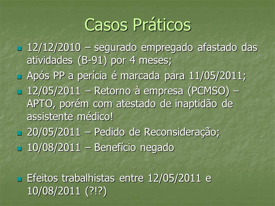 Casos Práticos 12/12/2010 – segurado empregado afastado das atividades (B-91) por 4 meses; 12/12/2010 – segurado empregado afastado das atividades (B-
