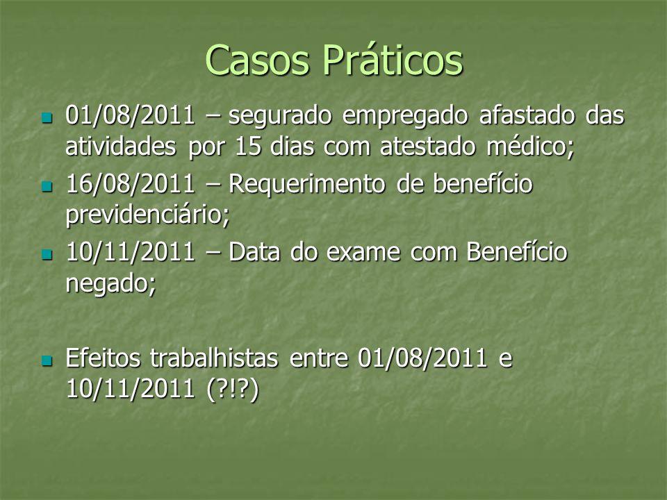 Casos Práticos 01/08/2011 – segurado empregado afastado das atividades por 15 dias com atestado médico; 01/08/2011 – segurado empregado afastado das a