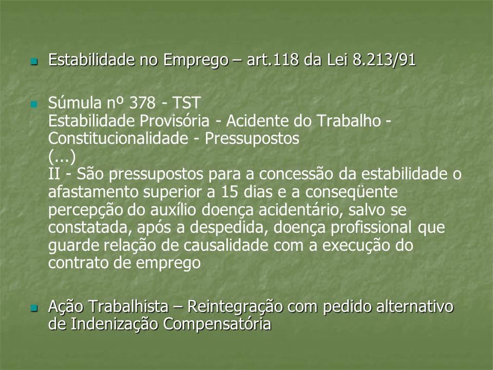Estabilidade no Emprego – art.118 da Lei 8.213/91 Estabilidade no Emprego – art.118 da Lei 8.213/91 Súmula nº 378 - TST Estabilidade Provisória - Acid