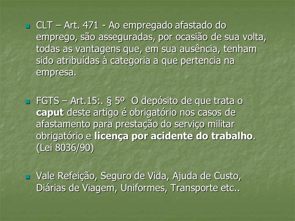 CLT – Art. 471 - Ao empregado afastado do emprego, são asseguradas, por ocasião de sua volta, todas as vantagens que, em sua ausência, tenham sido atr