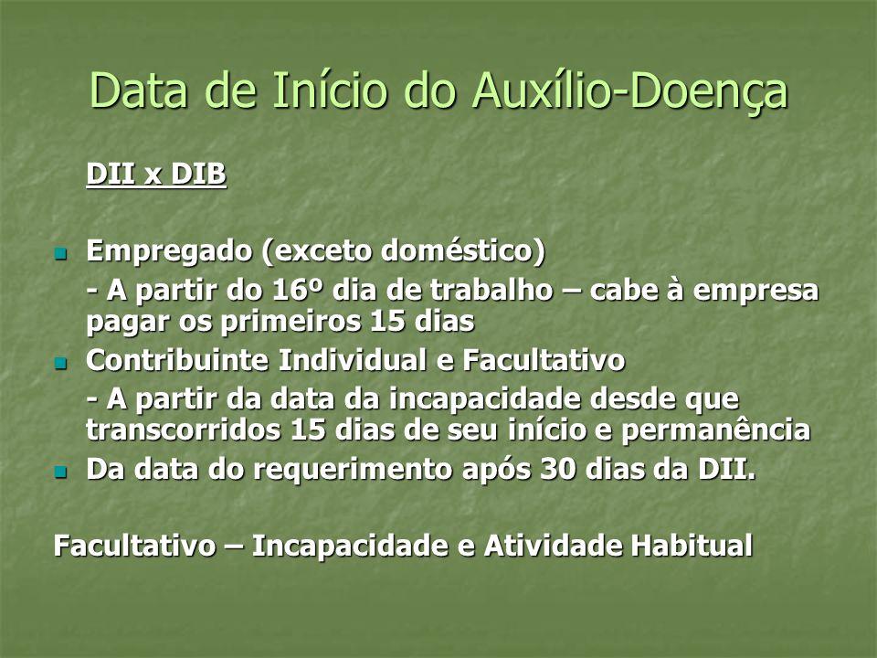 Data de Início do Auxílio-Doença DII x DIB Empregado (exceto doméstico) Empregado (exceto doméstico) - A partir do 16º dia de trabalho – cabe à empres