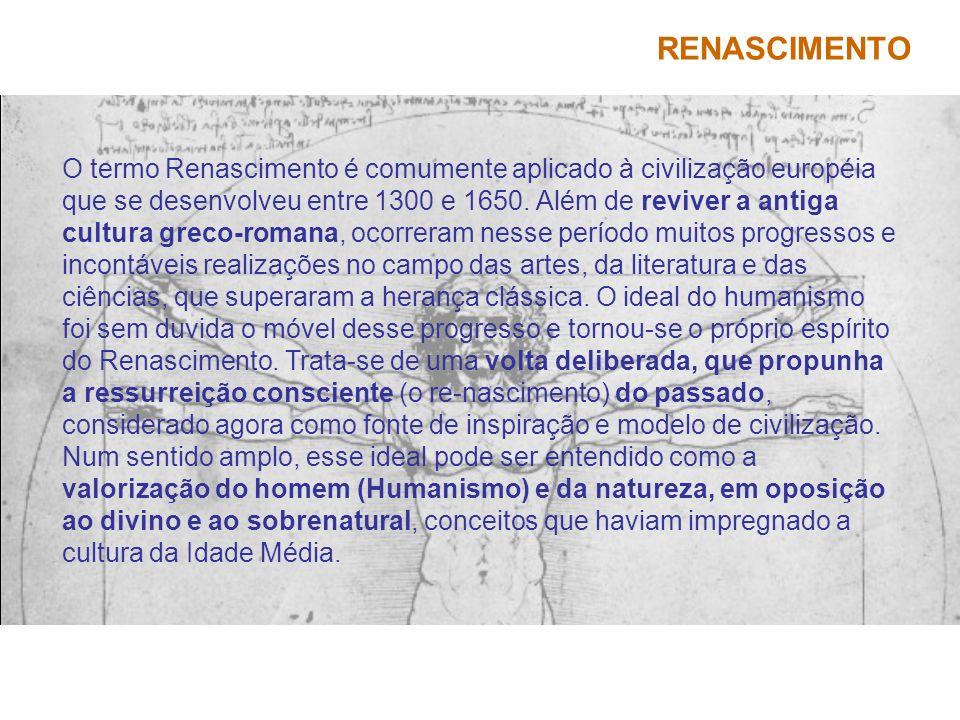 RENASCIMENTO O termo Renascimento é comumente aplicado à civilização européia que se desenvolveu entre 1300 e 1650. Além de reviver a antiga cultura g
