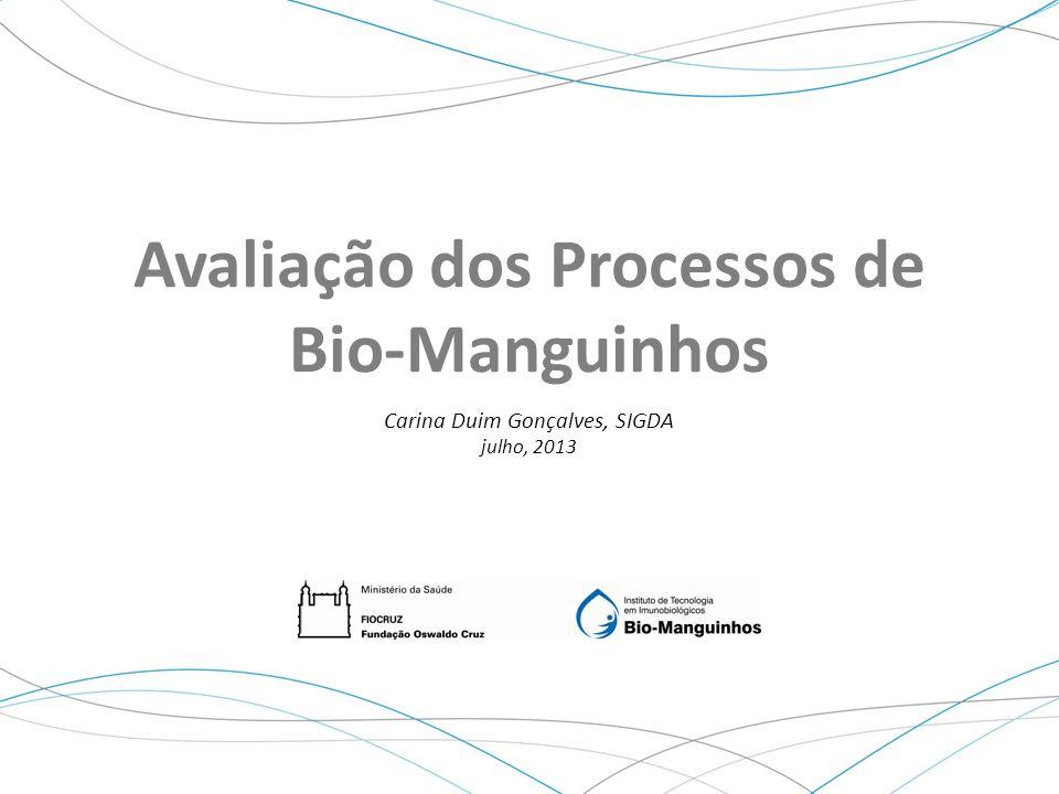 Carina Duim, SIGDA Julho, 2013 Avaliação dos Processos de Bio-Manguinhos Carina Duim Gonçalves, SIGDA julho, 2013