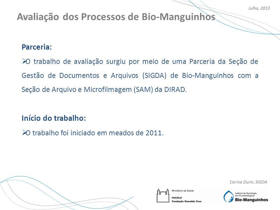Carina Duim, SIGDA Julho, 2013 Avaliação dos Processos de Bio-Manguinhos Equipe de atuação: 1 arquivista e 1 técnico de arquivo.