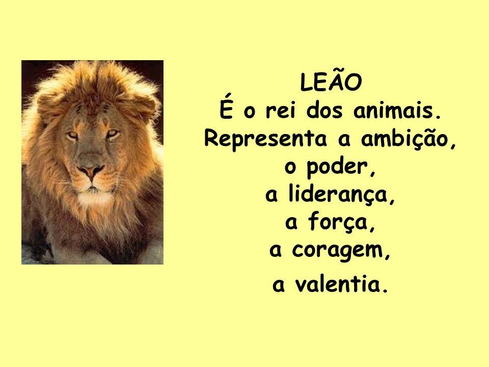 LEÃO É o rei dos animais. Representa a ambição, o poder, a liderança, a força, a coragem, a valentia.