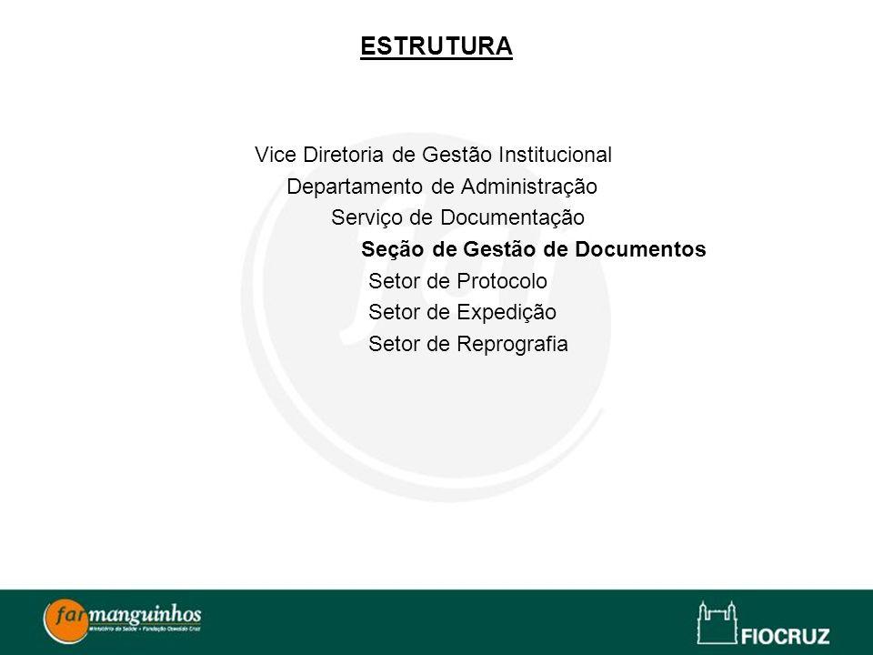 ESTRUTURA Vice Diretoria de Gestão Institucional Departamento de Administração Serviço de Documentação Seção de Gestão de Documentos Setor de Protocol
