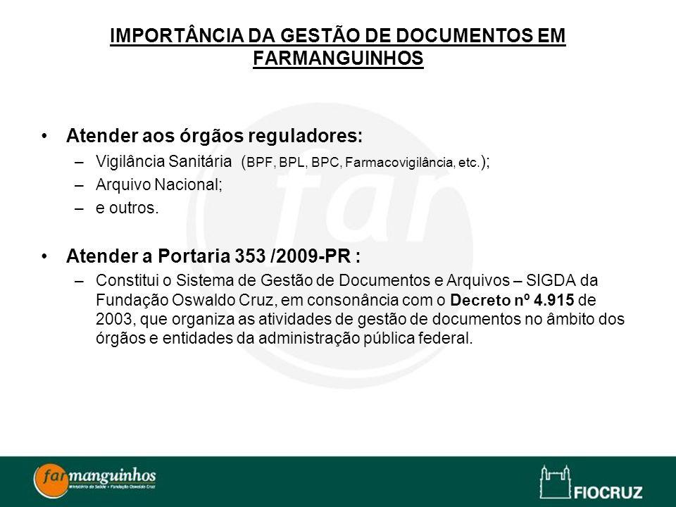 IMPORTÂNCIA DA GESTÃO DE DOCUMENTOS EM FARMANGUINHOS Atender aos órgãos reguladores: –Vigilância Sanitária ( BPF, BPL, BPC, Farmacovigilância, etc. )