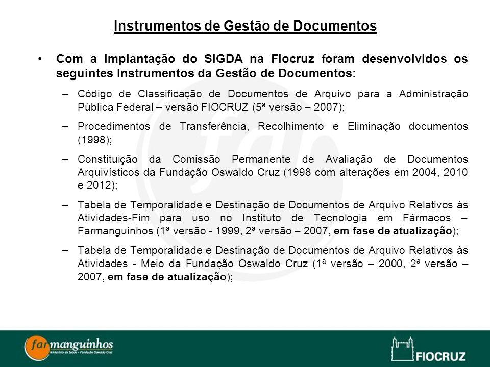 Instrumentos de Gestão de Documentos Com a implantação do SIGDA na Fiocruz foram desenvolvidos os seguintes Instrumentos da Gestão de Documentos: –Cód