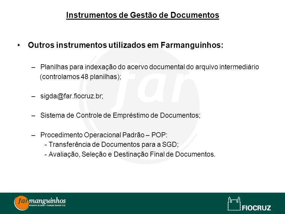 Instrumentos de Gestão de Documentos Outros instrumentos utilizados em Farmanguinhos: –Planilhas para indexação do acervo documental do arquivo interm