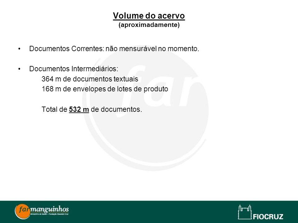 Volume do acervo (aproximadamente) Documentos Correntes: não mensurável no momento. Documentos Intermediários: 364 m de documentos textuais 168 m de e