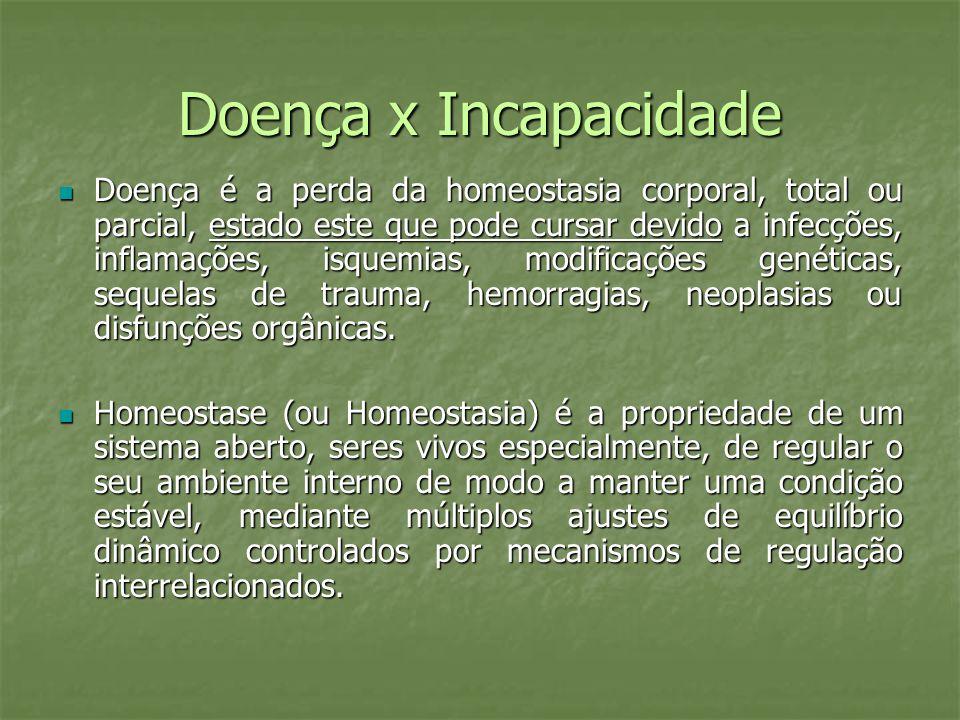 Doença x Incapacidade Doença é a perda da homeostasia corporal, total ou parcial, estado este que pode cursar devido a infecções, inflamações, isquemi