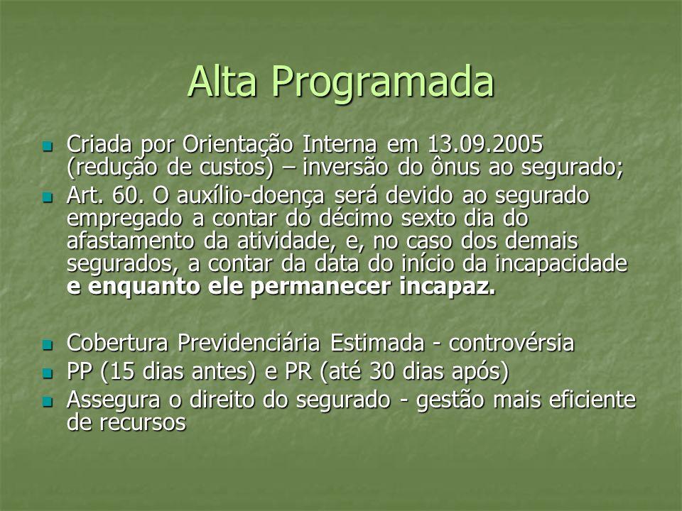 Alta Programada Criada por Orientação Interna em 13.09.2005 (redução de custos) – inversão do ônus ao segurado; Criada por Orientação Interna em 13.09