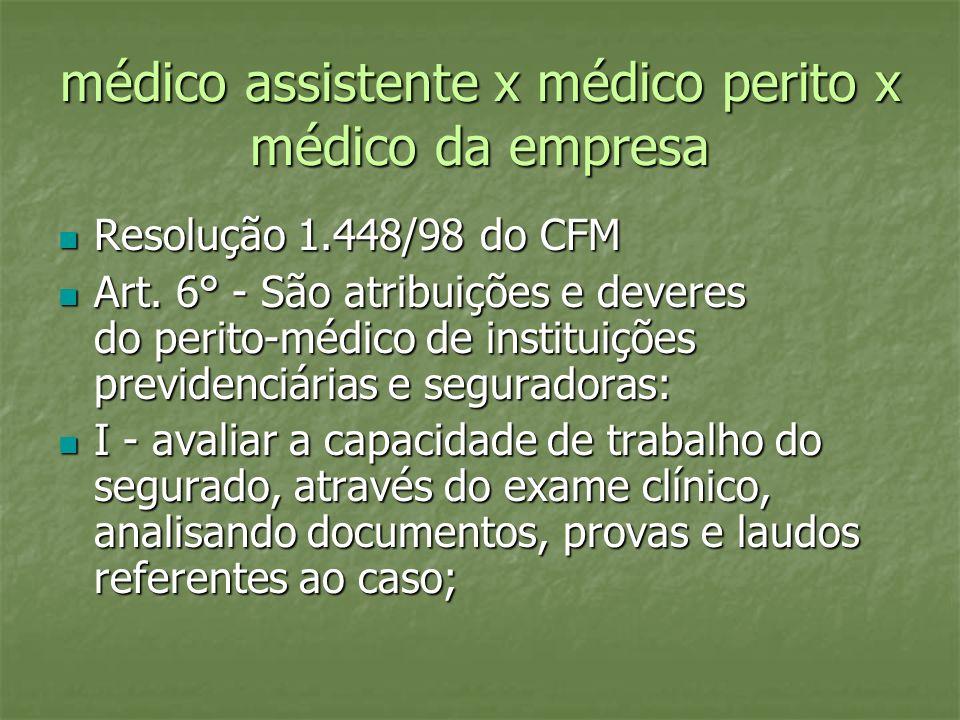médico assistente x médico perito x médico da empresa Resolução 1.448/98 do CFM Resolução 1.448/98 do CFM Art. 6° - São atribuições e deveres do perit