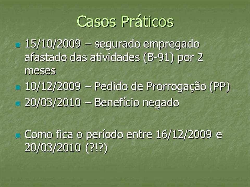 Casos Práticos 15/10/2009 – segurado empregado afastado das atividades (B-91) por 2 meses 15/10/2009 – segurado empregado afastado das atividades (B-9
