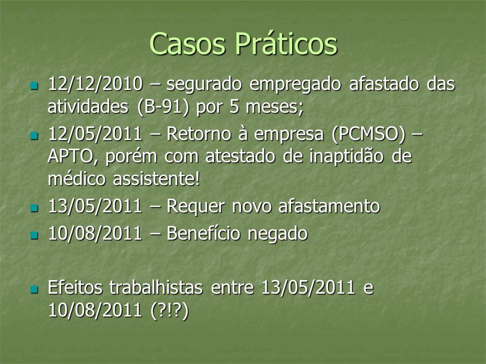 Casos Práticos 12/12/2010 – segurado empregado afastado das atividades (B-91) por 5 meses; 12/12/2010 – segurado empregado afastado das atividades (B-