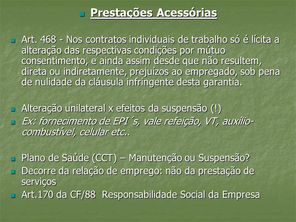 Prestações Acessórias Prestações Acessórias Art. 468 - Nos contratos individuais de trabalho só é lícita a alteração das respectivas condições por mút