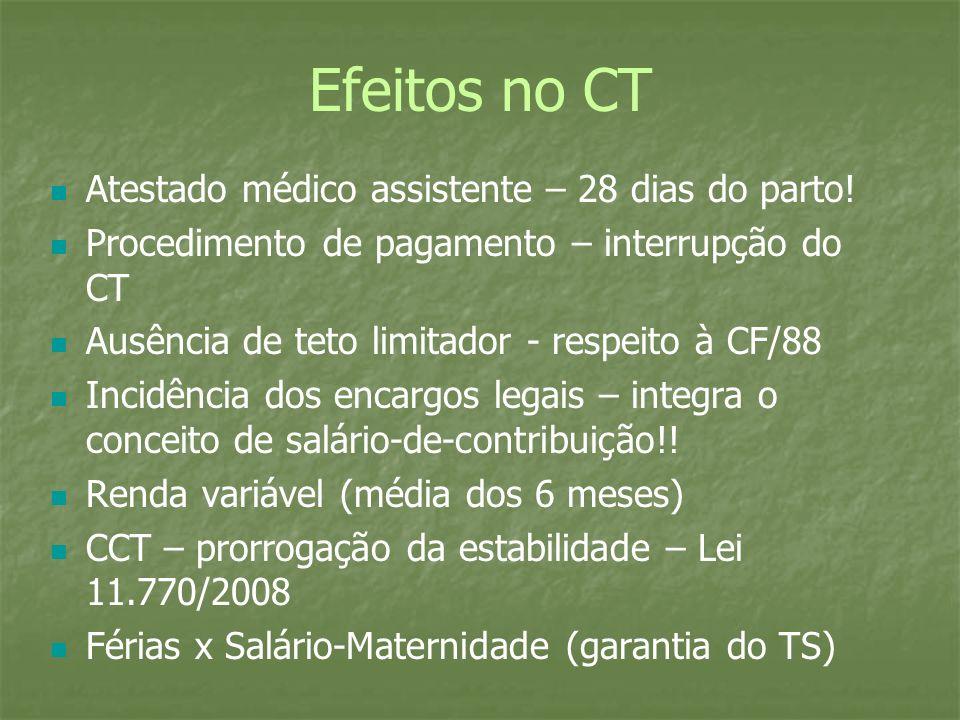 Efeitos no CT Atestado médico assistente – 28 dias do parto! Procedimento de pagamento – interrupção do CT Ausência de teto limitador - respeito à CF/