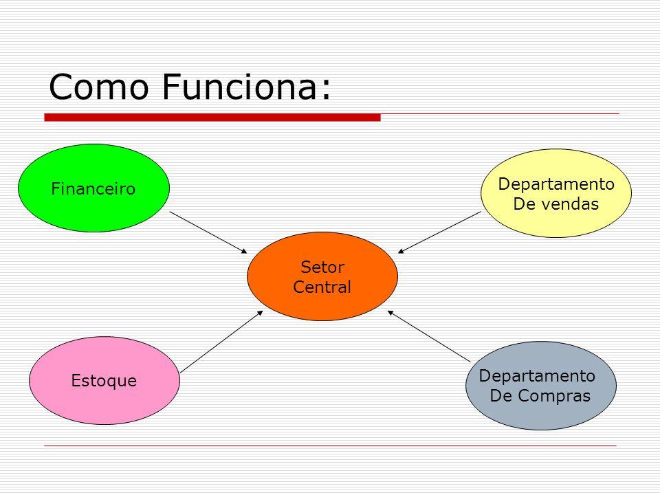 Como Funciona: Setor Central Departamento De Compras Departamento De vendas Financeiro Estoque