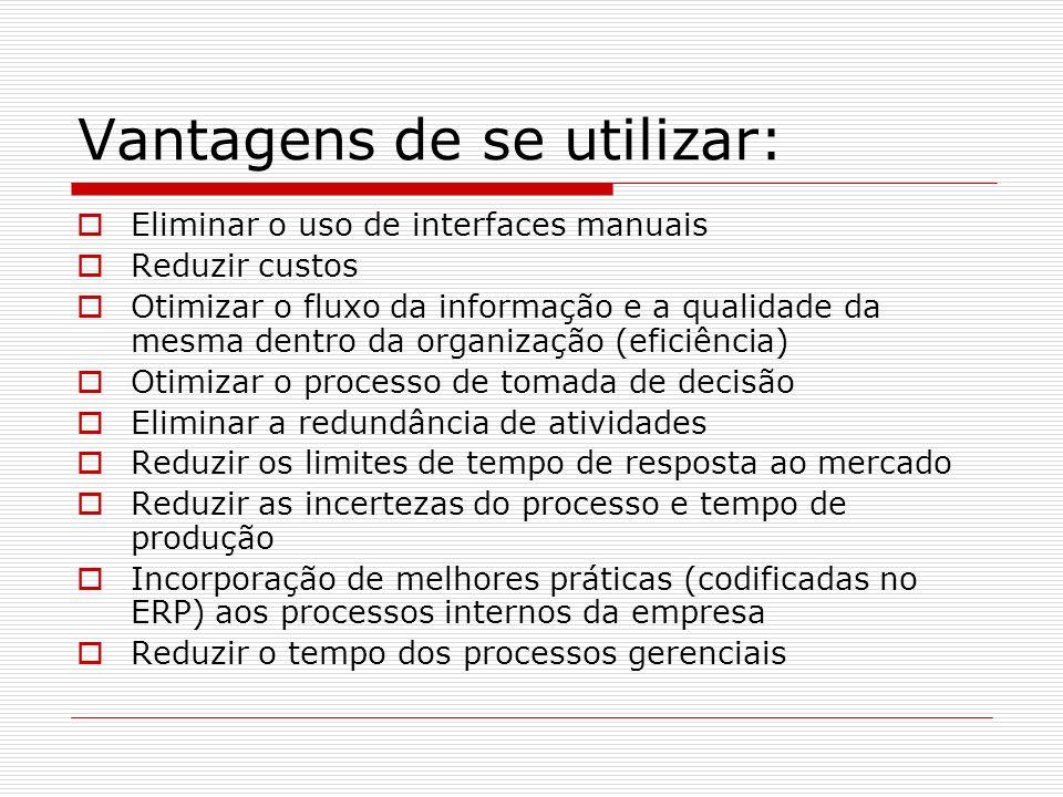 Vantagens de se utilizar: Eliminar o uso de interfaces manuais Reduzir custos Otimizar o fluxo da informação e a qualidade da mesma dentro da organiza