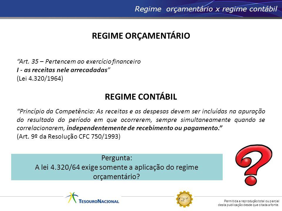 Permitida a reprodução total ou parcial desta publicação desde que citada a fonte. Regime orçamentário x regime contábil REGIME ORÇAMENTÁRIO Art. 35 –