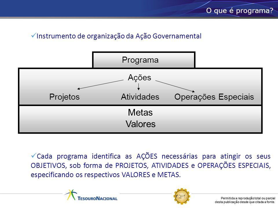 Permitida a reprodução total ou parcial desta publicação desde que citada a fonte. Instrumento de organização da Ação Governamental Cada programa iden