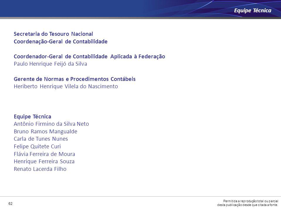 Permitida a reprodução total ou parcial desta publicação desde que citada a fonte. 62 Secretaria do Tesouro Nacional Coordenação-Geral de Contabilidad