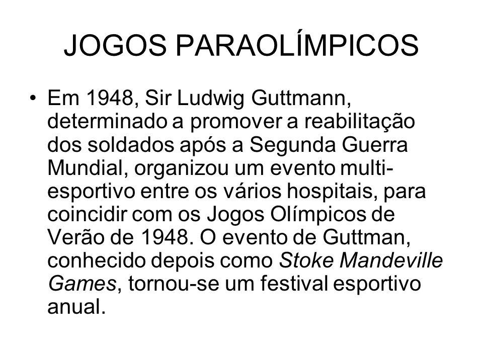 JOGOS PARAOLÍMPICOS Em 1948, Sir Ludwig Guttmann, determinado a promover a reabilitação dos soldados após a Segunda Guerra Mundial, organizou um event