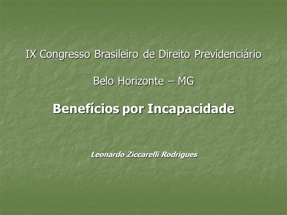 IX Congresso Brasileiro de Direito Previdenciário Belo Horizonte – MG Benefícios por Incapacidade Leonardo Ziccarelli Rodrigues