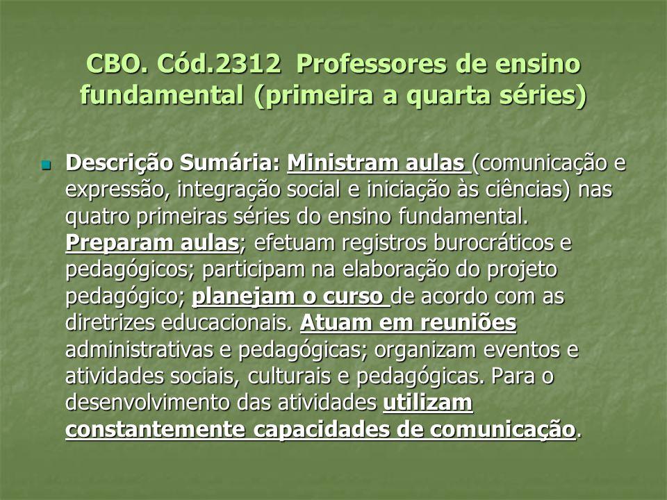 CBO. Cód.2312 Professores de ensino fundamental (primeira a quarta séries) Descrição Sumária: Ministram aulas (comunicação e expressão, integração soc