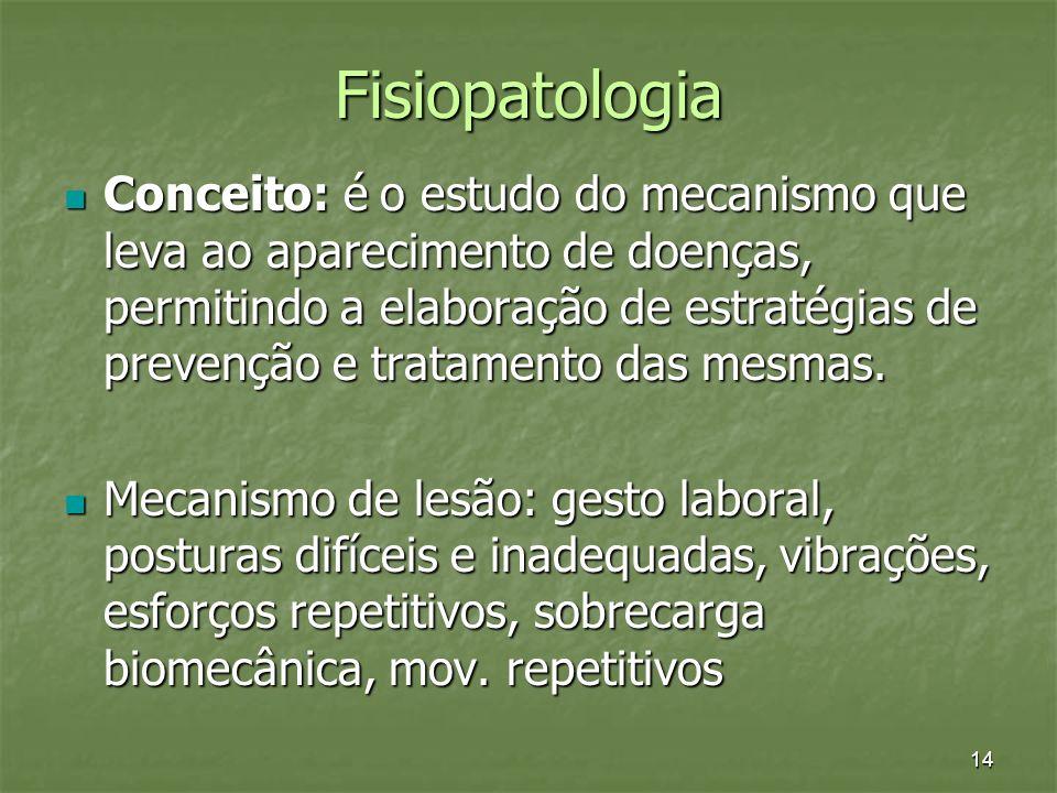 14 Fisiopatologia Conceito: é o estudo do mecanismo que leva ao aparecimento de doenças, permitindo a elaboração de estratégias de prevenção e tratame
