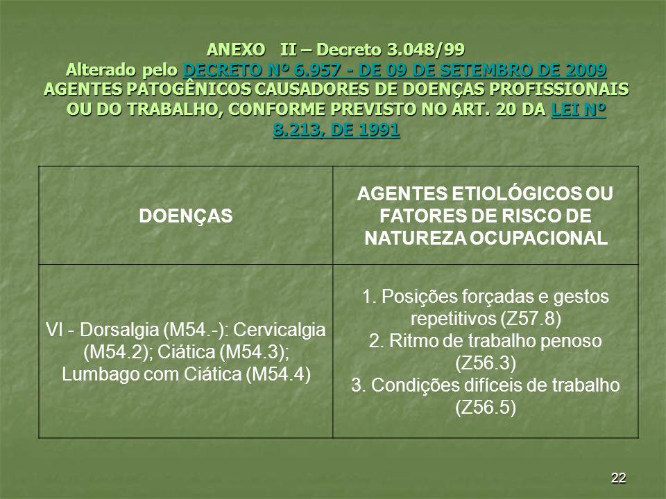 22 ANEXO II – Decreto 3.048/99 Alterado pelo DECRETO Nº 6.957 - DE 09 DE SETEMBRO DE 2009 AGENTES PATOGÊNICOS CAUSADORES DE DOENÇAS PROFISSIONAIS OU D