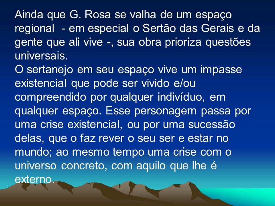 Ainda que G. Rosa se valha de um espaço regional - em especial o Sertão das Gerais e da gente que ali vive -, sua obra prioriza questões universais. O
