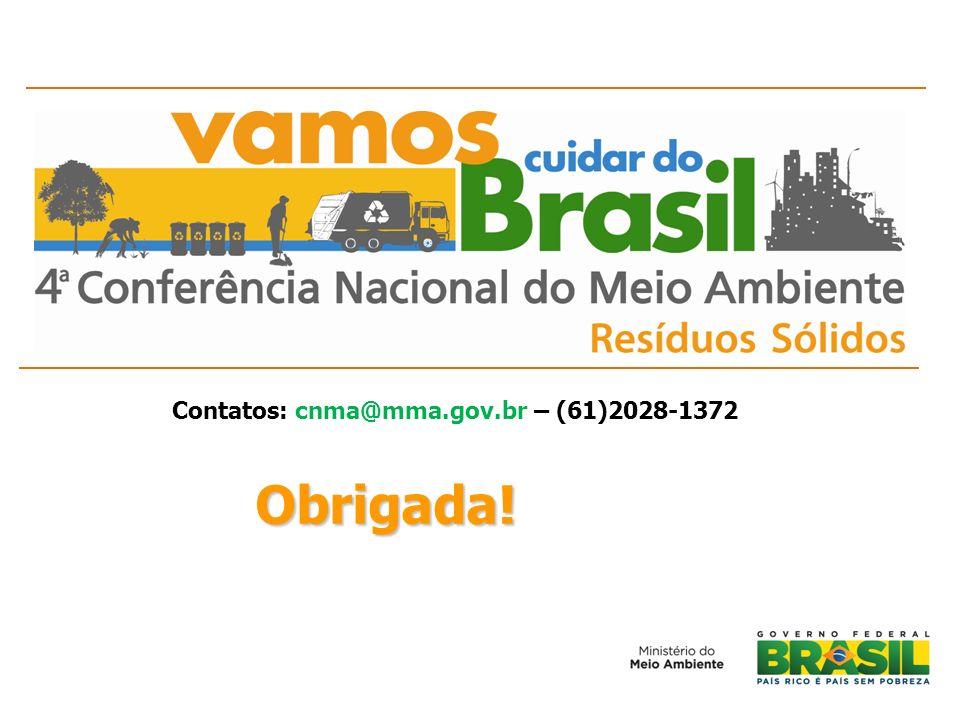 Obrigada! Contatos: cnma@mma.gov.br – (61)2028-1372