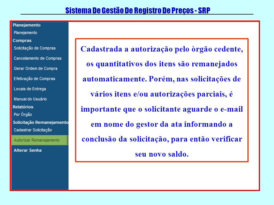 Sistema De Gestão De Registro De Preços - SRP Cadastrada a autorização pelo òrgão cedente, os quantitativos dos itens são remanejados automaticamente.