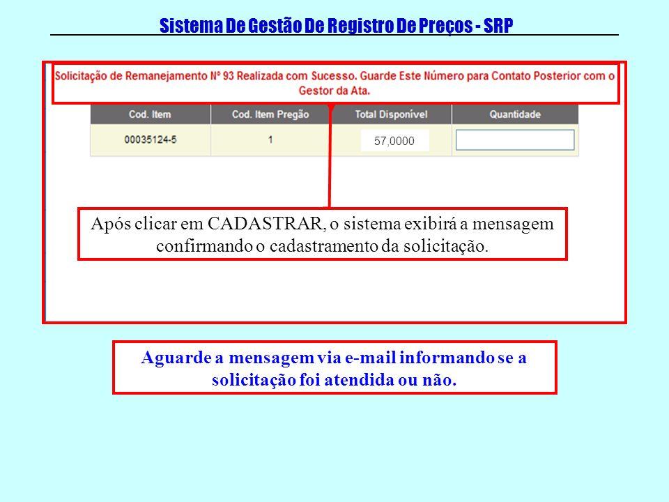 Sistema De Gestão De Registro De Preços - SRP Após clicar em CADASTRAR, o sistema exibirá a mensagem confirmando o cadastramento da solicitação.