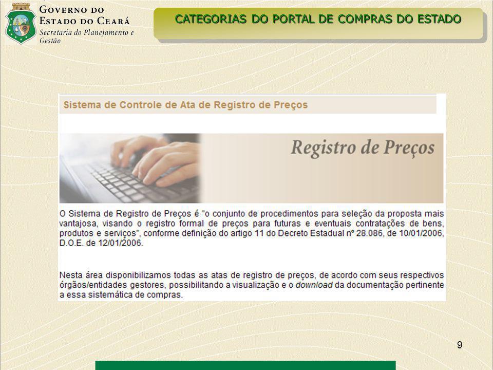 10 CATEGORIAS DO PORTAL DE COMPRAS DO ESTADO