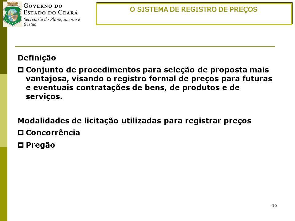 16 O SISTEMA DE REGISTRO DE PREÇOS Definição Conjunto de procedimentos para seleção de proposta mais vantajosa, visando o registro formal de preços pa