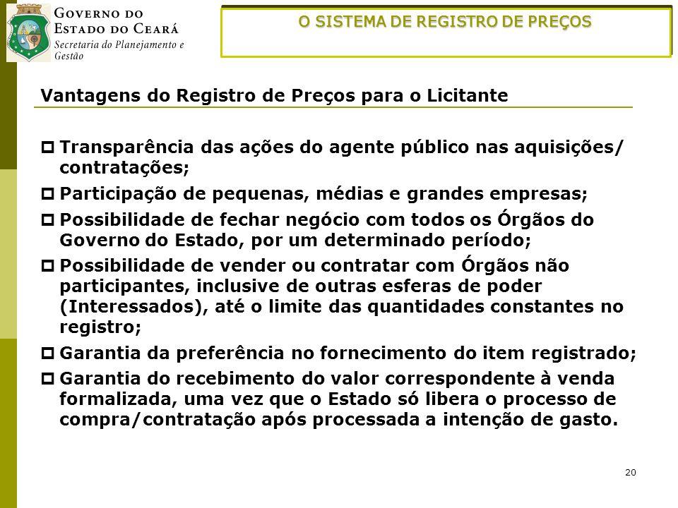20 O SISTEMA DE REGISTRO DE PREÇOS Vantagens do Registro de Preços para o Licitante Transparência das ações do agente público nas aquisições/ contrata