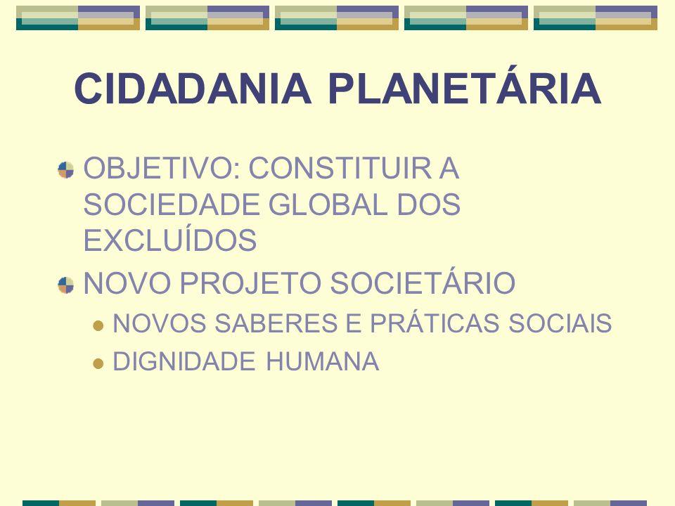 CIDADANIA PLANETÁRIA OBJETIVO: CONSTITUIR A SOCIEDADE GLOBAL DOS EXCLUÍDOS NOVO PROJETO SOCIETÁRIO NOVOS SABERES E PRÁTICAS SOCIAIS DIGNIDADE HUMANA